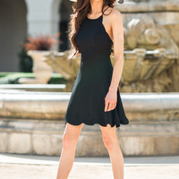 Celeste Black Scallop Dress
