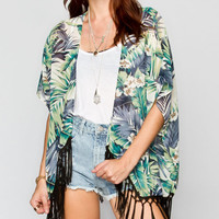 Blu Pepper Palm Print Womens Kimono Blue  In Sizes