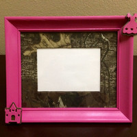 Pink camo picture frame realtree camouflage hunter teen tween toddler girls bedroom home decor rustic wedding bridal shower gift new baby
