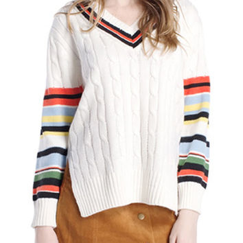 White V-neck Contrast Stripe Side Split Cable Dipped Hem Jumper