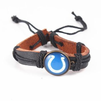 Sport Fashion Punk Design Indianapolis Colts Leather Bracelets For Women Men Wristband Female Adjustable Rope Bracelet Jewelry