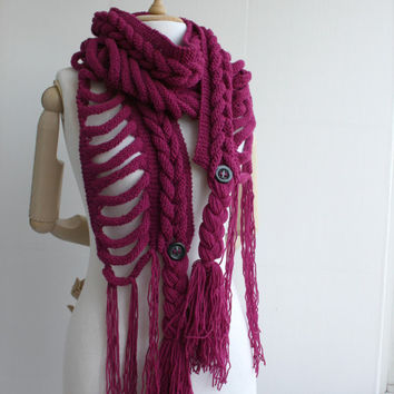 Free SHIPPING Cyclamen Wool  Scarf with Button Mothers Day gift  UNDER 75USD For Her