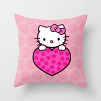 Kitty Love Throw Pillow by Pink Berry Pattern