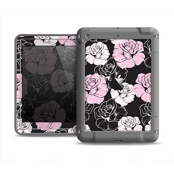 The Pink and Black Rose Pattern V3 Apple iPad Air LifeProof Fre Case Skin Set