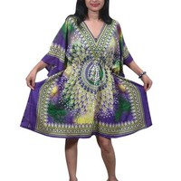 Kaftan Dress Purple Ethnic Printed Loungerwear Short Summer Caftan Top one Size: Amazon.com: Clothing