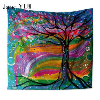 JaneYU Oil Painting Tree Tapestry Mandala Floral Wall Art Carpet Life Wall Tapestry Sheet