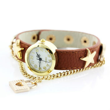 Watch Stylish Fashion Palace Metal Chain Necklace Star Leather Bracelet [6049427073]