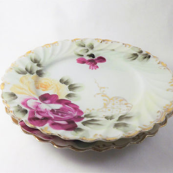Rose Plates, Antique Floral Plates, 2 Vintage Dessert Plates, Hand Painted Pink and Yellow Flower Plates with Gold band, Made in Japan