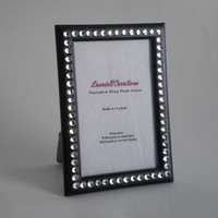 BLACK & BLING 4 x 6 Picture Frame -black w/ clear rhinestones