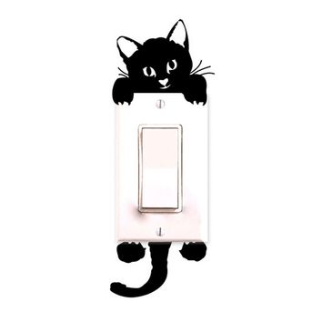 Lovely Cute Cat Wall Stickers Light Switch Decor Decals Art Mural Baby Nursery Room Sep1 levert dropship