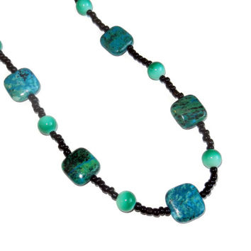 Beaded Necklace, Aqua, Teal, Green, Black, 24 Inch Necklace, Womens Necklace,  Gift For Her, Jewelry Under 30 Dollars