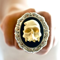 Mr. Skeletor Rococo ring - Over Sized  - Made in USA Stamping