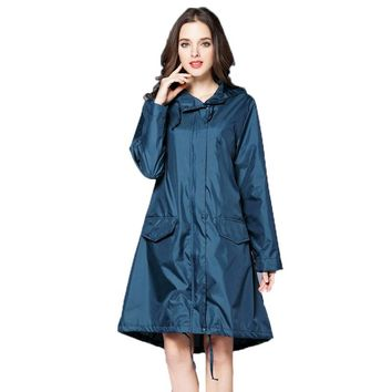 6 Colors Waterproof Women Raincoat Hooded Long Rain Jacket Breathable Rain Coat Poncho Outdoor Rainwear