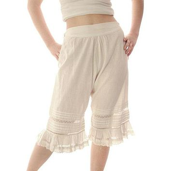 """Vintage Antique Ladies Bloomers White Cotton Fancy 26"""" Waist Small"""