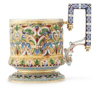 A Russian gilded silver and cloisonné and shaded enamel tea glass holder, Ivan Saltykov, Moscow, circa 1890 | Lot | Sotheby's