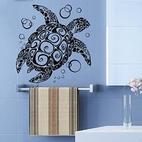 Wall Decals Vinyl Decal Sticker Home Interior Design Art Mural Sea Ocean Animals Turtle Bubbles Bathroom Kids Nursery Baby Room Decor