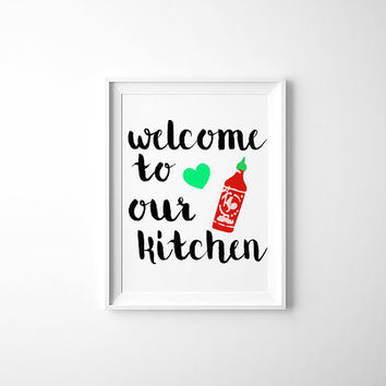 Kitchen Wall Prints-Art Printables-Instant Download-Sriracha-Digital Prints