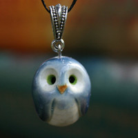 Blue  Owl Necklace: Harry Potter Inspired Ravenclaw Miniature