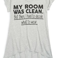Girl's Ten Sixty Sherman 'My Room Was Clean' Graphic High/Low Tee