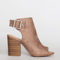 Salem Peep Toe Booties - Cement