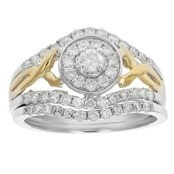 0.14 Carats 7/8 cttw Diamond Wedding Engagement Ring Set 14K Two Tone Gold