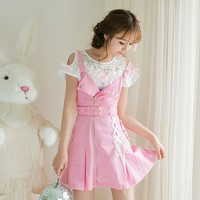 Japanese sweet pink zipper strap dress SD00074