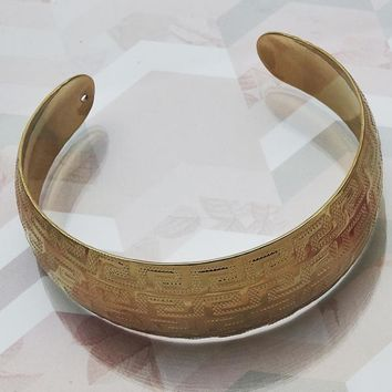 Gold Layered Women Greek Key Individual Bangle, One size fits all by Folks Jewelry