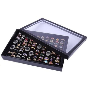 "Jewelry Rings Display Tray Velvet 100 Slot Case Box Jewelry Storage Box 29*19*4.5cm/11.41""x7.48""x1.77"" Ring jewel case #45"
