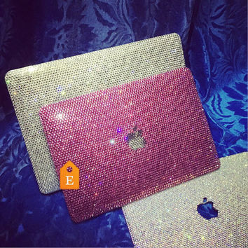 10%off Laptop Case Rhinestone macbook case Handmade Rose crystal series Bling Case glitter gift ideas spring fashion pinkish