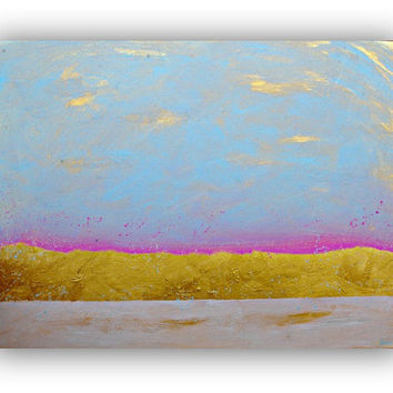 Original Abstract Art painting - Large wall art - peaceful home decor - Light Blue and Gold art on canvas