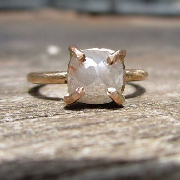 Rose Cut Diamond ring, Raw Diamond Engagement Ring, cushion cut, 14k Gold, conflict free diamond ring