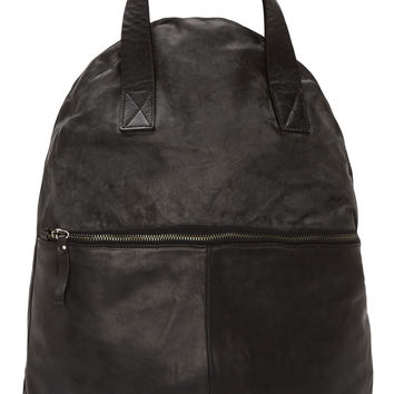 Marsll Black Distressed Leather Unstructured Backpack