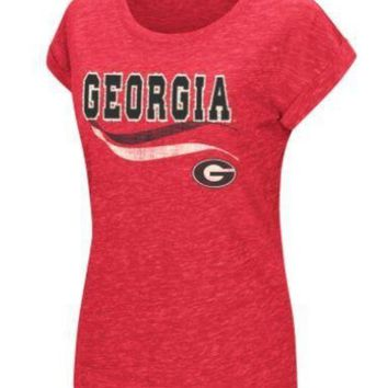 LMFON NCAA Georgia Bulldogs Colosseum Women's Red Speckled Yarn T-Shirt