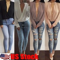 US Women Sexy Deep V-neck Blouse Chiffon Long Sleeve Loose Casual Shirt Tops Tee