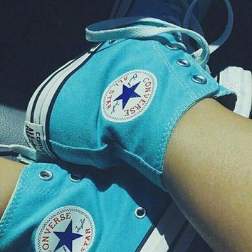 CREYUG7 Converse All Star Sneakers Adult Leisure High-Top Leisure shoes light blue