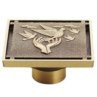 Antique Copper Anti-Odor Square Peace Dove Bathroom Accessories Sink Floor Shower Drain Cover Luxury Sewer Filter K-8857
