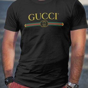 GUCCI Tide brand classic letter print logo men and women wild fashion T-shirt black