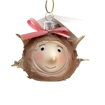 Golden Bell Collection Mrs Hedgehog Glass Ornament