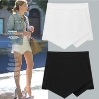 Skorts pure color all-match irregular women clothing skirt shorts