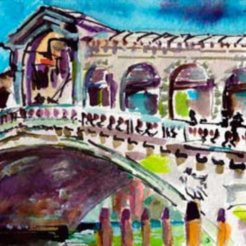 Venice Rialto Bridge Italy Small Watercolor Painting