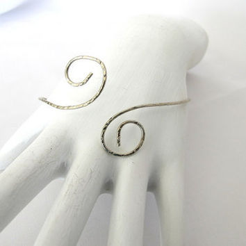 Hammered arm band, large silver cuff, simple summer jewelry, gypsy ethnic arm band