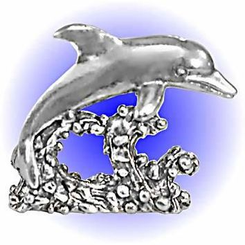 Dolphin Riding Wave Pewter Figurine  Lead Free