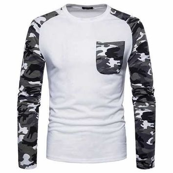 Mens Camo Patchwork Casual T Shirts