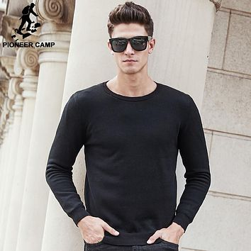 new Solid black thick sweater men autumn winter thick fleece male sweaters