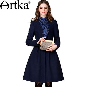 Artka Women's Autumn New Vintage Elegant Embroidery Wool Coat Bi-layered Front-opening Cinch Waist  Woolen Coat FA10149Q
