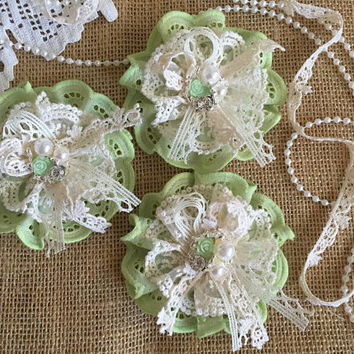 3 shabby chic lace and fabric handmade flowers green and ivory colors.
