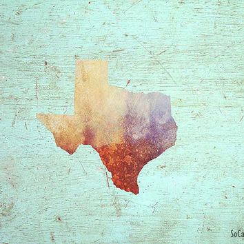 State of Texas Watercolor Print