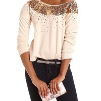Sequin Trim French Terry Sweater: Charlotte Russe
