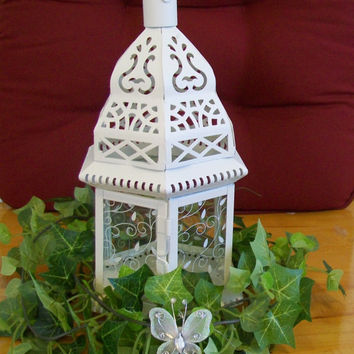Moroccan Candle Lantern, White Wedding Lantern, Metal Candle Holder, White Hanging Candleholder, Wedding Decor