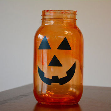Halloween Decor, Fall Decor, Fall Mason Jar, Jack O Lantern, Halloween Mason Jar, Pumpkin Mason Jar, Pumpkin Decor, Quart Jar
